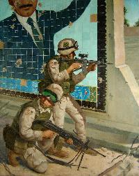 oil painting of the 3rd infantry division in iraq by artist Scott Meier